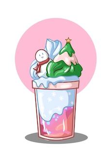 Illustration de noël bleu crème glacée