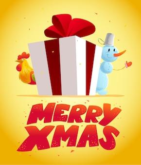 Illustration de noël avec bonhomme de neige et portrait de personnage drôle de coq. . bonne année et élément joyeux noël. carte de félicitations.