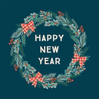 Illustration de noël et bonne année avec guirlande de noël.