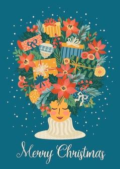 Illustration de noël et bonne année avec jolie femme. style rétro branché.