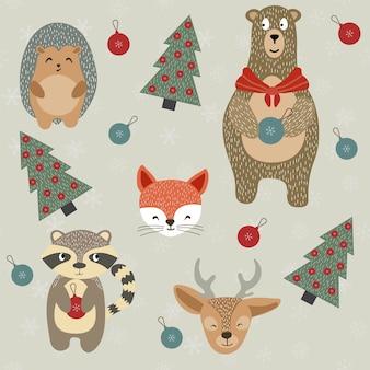 Illustration de noël de cerf de raton laveur de renne d'hiver et de renard