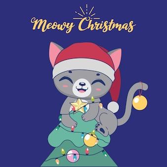 Illustration de noël avec un chat espiègle mignon au sommet d'un arbre
