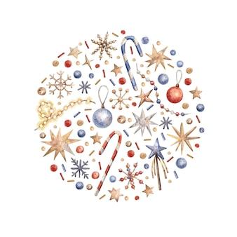 Illustration de noël avec décor, cannes de bonbon, étoiles et flocons de neige. illustration aquarelle