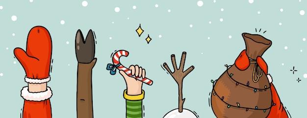 Illustration de noël du cerf de bonhomme de neige elfe main du père noël