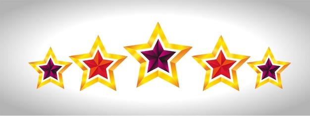 Illustration de noël étoile d'or brillant pour la conception sur fond blanc