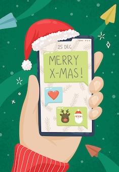 Illustration de noël félicitations par sms de téléphone