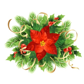 Illustration de noël de fleur de poinsettia rouge. fleur de poinsettia, baies de gui, lierre, couronne de branches de sapin. décoration de noël avec des rubans. élément de design floral de carte postale. vecteur isolé