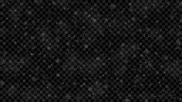 Illustration de noël de flocons de neige de différentes formes, tailles et transparence en couleurs blanches sur fond transparent