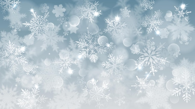 Illustration de noël avec des flocons de neige flous blancs