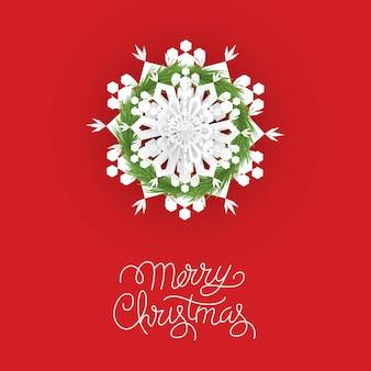 Illustration de noël avec des flocons de neige rouges et une couronne de sapin
