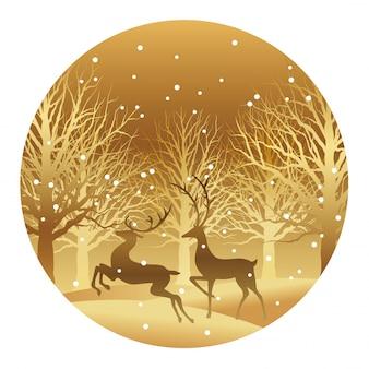 Illustration de noël avec la forêt et le renne