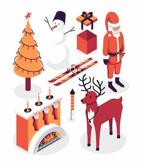 Illustration de noël, jeu d'icônes d'hiver, collection isométrique