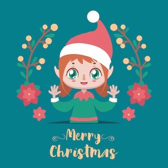 Illustration de noël avec une jolie fille elfe joyeuse