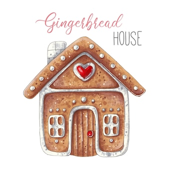 Illustration de noël avec jolie maison en pain d'épice isolée