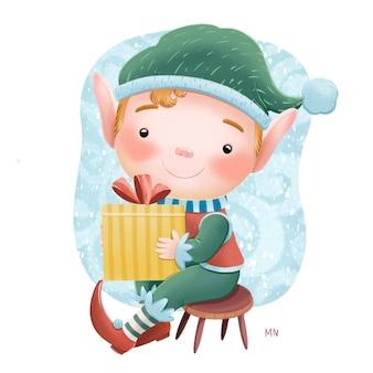 Illustration de noël mignon petit elfe avec cadeau