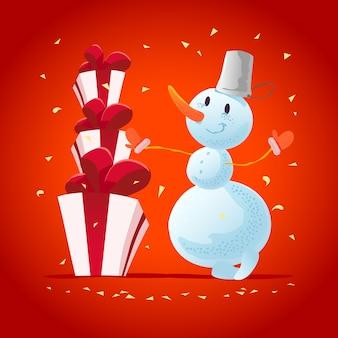 Illustration de noël avec portrait de personnage drôle de bonhomme de neige. . bonne année et élément joyeux noël. carte de félicitations.