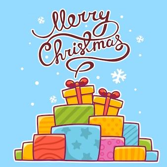 Illustration de noël de tas coloré de cadeaux et texte écrit à la main