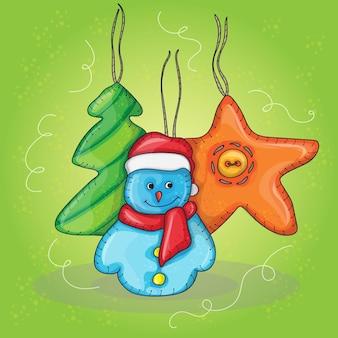 Illustration de noël de vecteur avec bonhomme de neige - carte de nouvel an