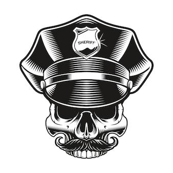 Une illustration en noir et blanc d'un crâne de policier sur blanc