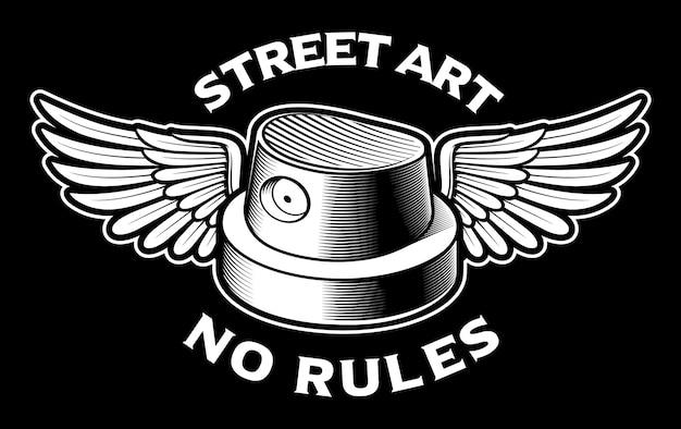 Illustration en noir et blanc du capuchon de pulvérisation avec des ailes. logo de graffiti.