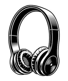 Illustration en noir et blanc d'écouteurs isolé sur fond blanc.