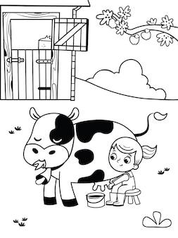 Illustration en noir et blanc d'une fille de ferme coloriage pour les enfants