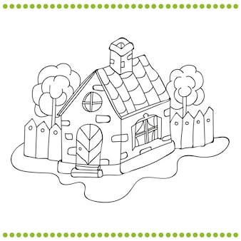 Illustration noir et blanc d'une maison livre de coloriage de vecteur