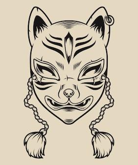Illustration en noir et blanc d'un masque de renard japonais sur fond blanc. masque kitsune.