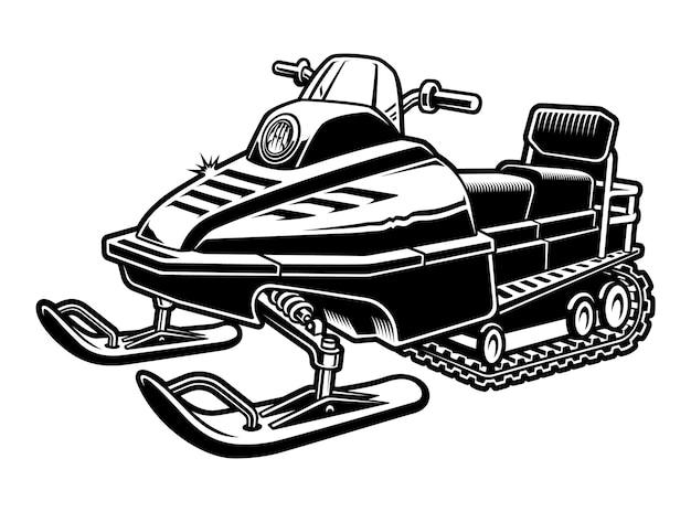 Illustration en noir et blanc d'une motoneige isolée sur fond blanc.