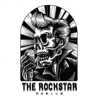 Illustration noir et blanc de rockstar