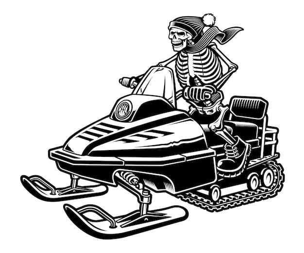 Illustration en noir et blanc d'un squelette sur la motoneige isolée sur fond blanc.