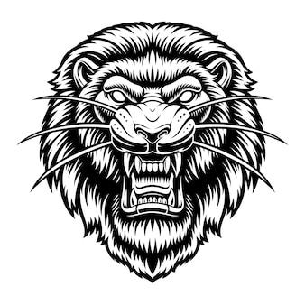 Une illustration en noir et blanc d'une tête de lion, isolée sur fond blanc.