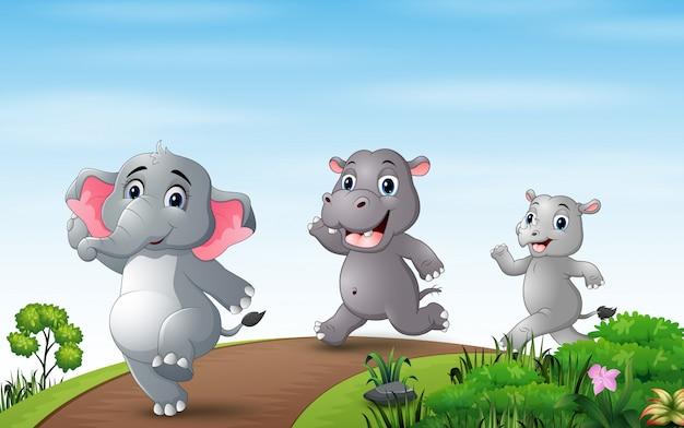 Illustration de nombreux animaux qui courent le long de la route