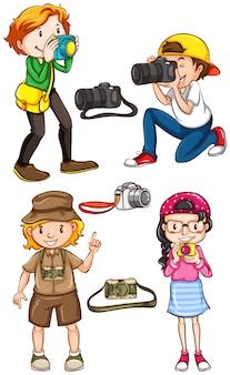 Illustration de nombreux photographes qui prennent une photo