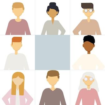 Illustration de nombreux portraits d'hommes et de femmes différents