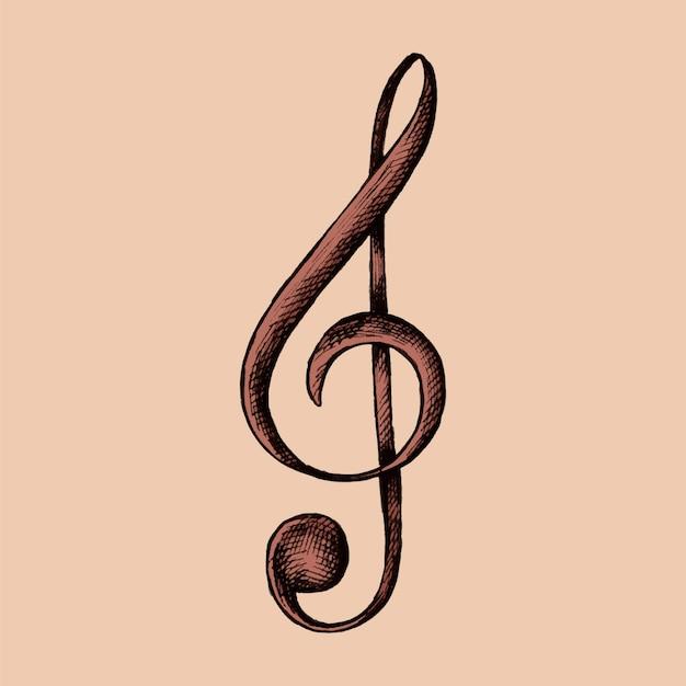 Illustration de note de musique g-clef dessinés à la main