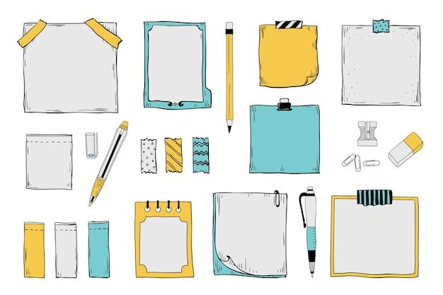 Illustration de notes autocollantes doodle