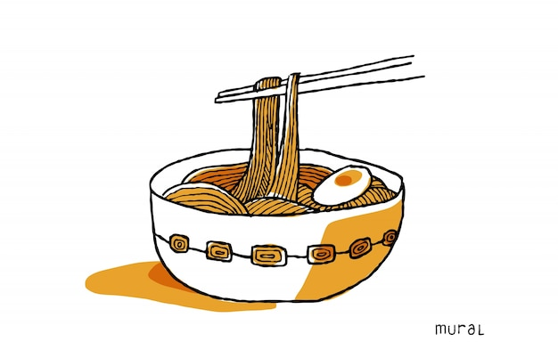 Illustration de nouilles ramen