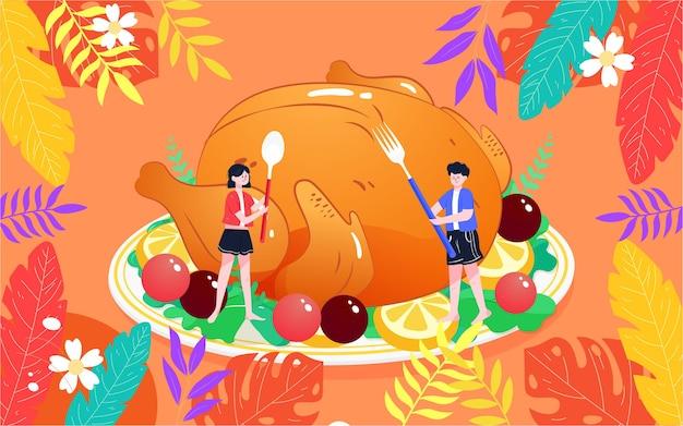 Illustration de nourriture de dinde de thanksgiving dîner chaud affiche de plats délicieux