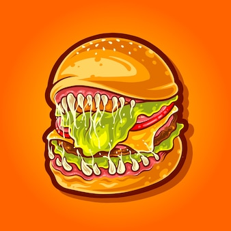 Illustration de nourriture effrayante burger monstre