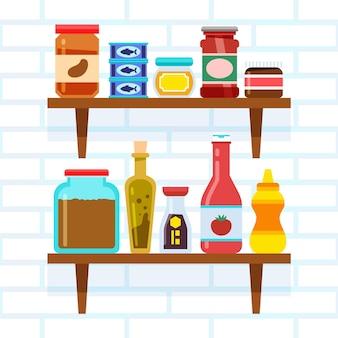 Illustration de nourriture de garde-manger plat