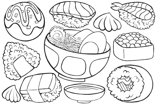Illustration de la nourriture japonaise doodle en style cartoon