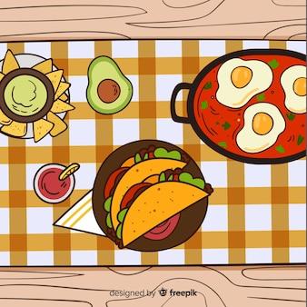 Illustration de la nourriture mexicaine dessinée à la main