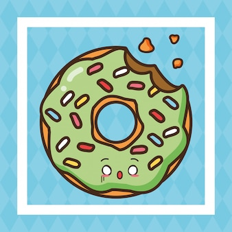 Illustration de nourriture mignonne kawaii fast food vert beignet