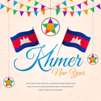 Illustration de nouvel an plat khmer