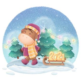Illustration de nouvel an symbole taureau mignon pour l'impression de cartes postales