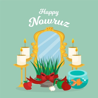 Illustration de nowruz heureux dessiné à la main