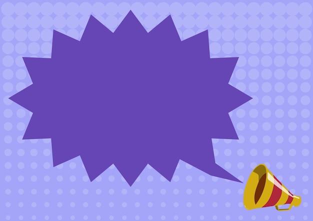 Illustration d'un nuage de chat spiky annoncé par un mégaphone. bullhorn drawing envoie un message important à tout le monde. horn picture veut dire une nouvelle à tout le monde.