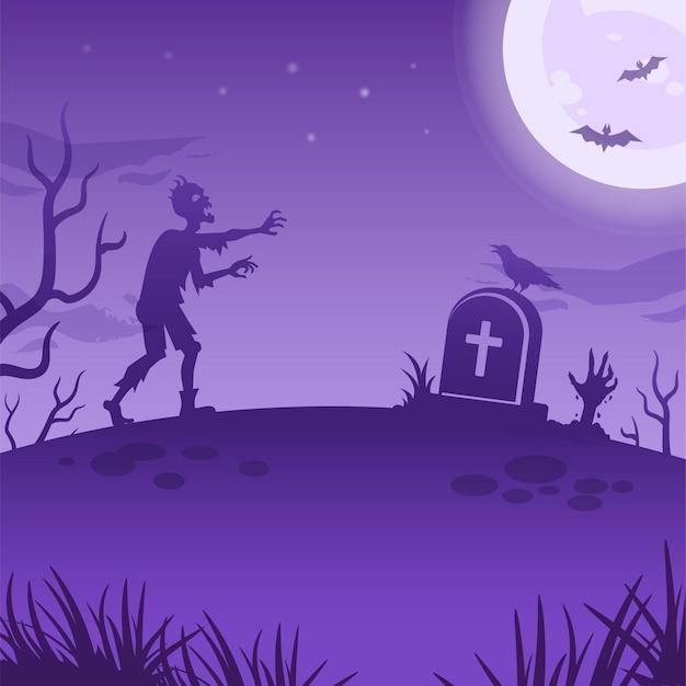 Illustration de la nuit d'halloween avec une grande lune rougeoyante, des morts-vivants, une pierre tombale et une main de zombie