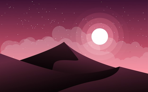 Illustration de nuit plate avec montagne